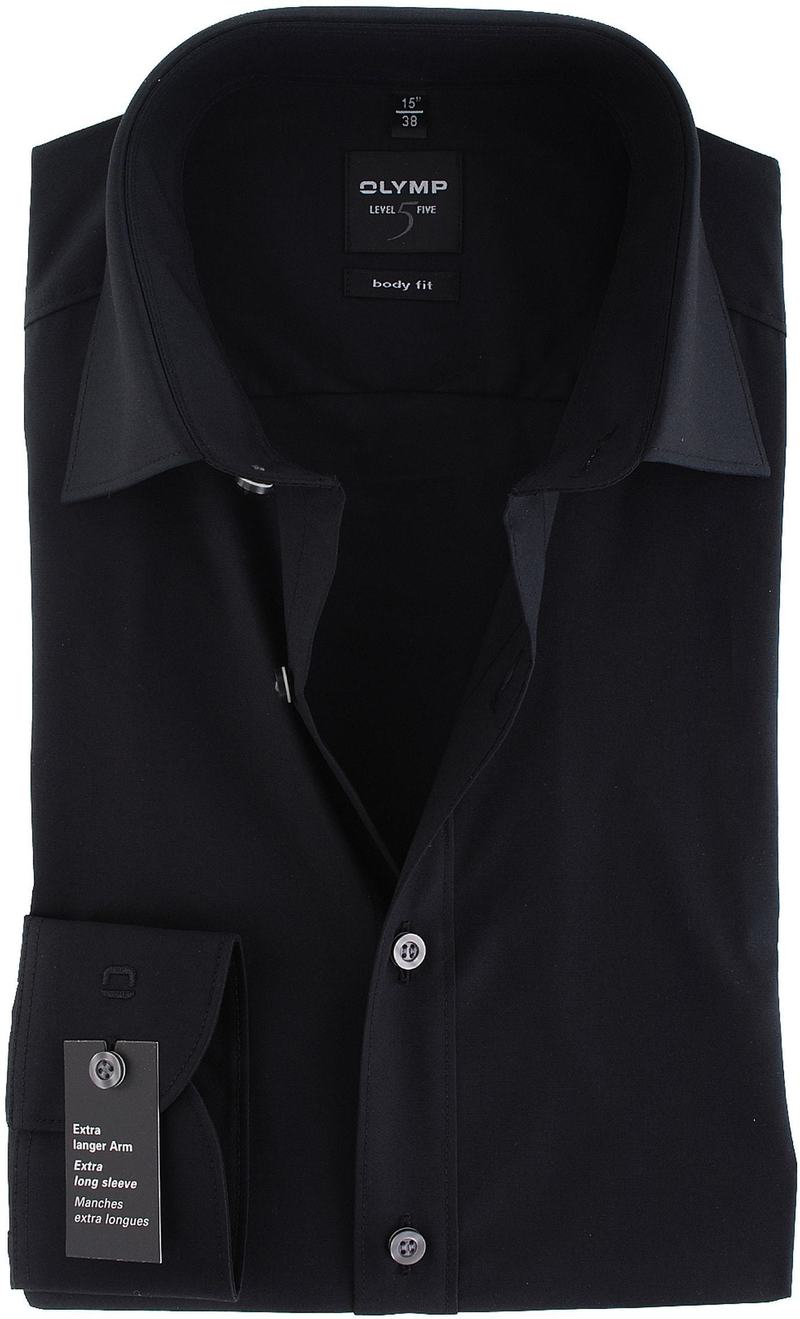 Olymp Level Five Shirt Extra Long Sleeve Body-Fit Black