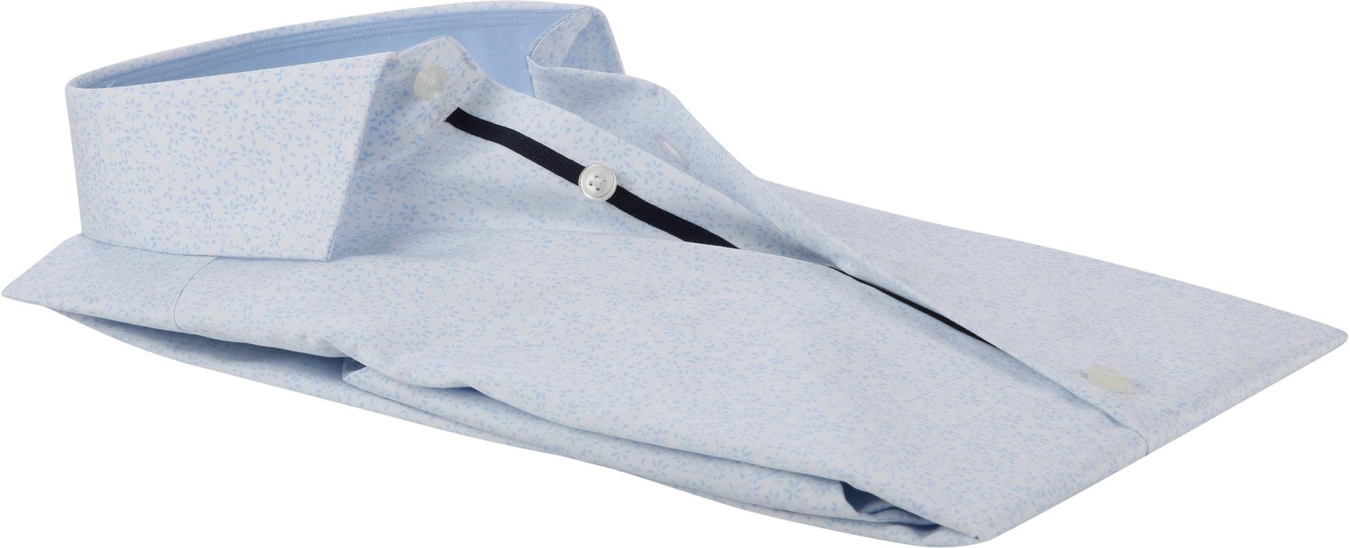 OLYMP Luxor Bloem Overhemd MF Wit - Blauw maat 39