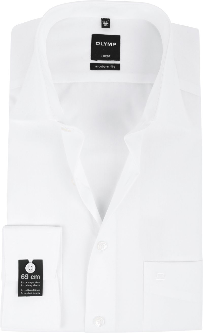 Olymp Luxor Extra Long Sleeve Shirt Modern Fit White