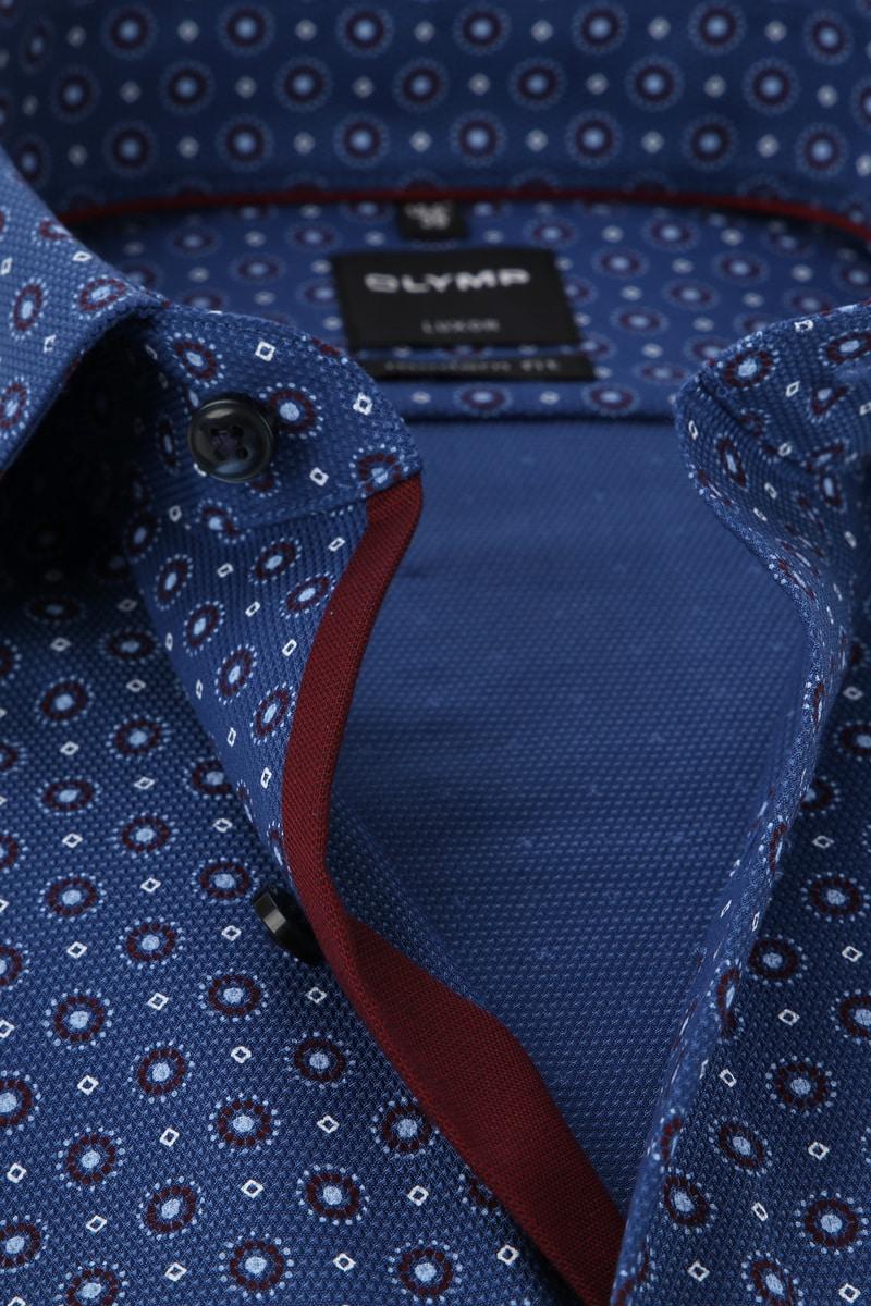 OLYMP Luxor MF Overhemd Donkerblauw Dessin foto 1