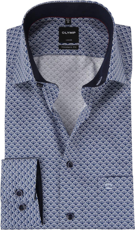 OLYMP Luxor Overhemd Blauw Dessin MF - Blauw maat 39