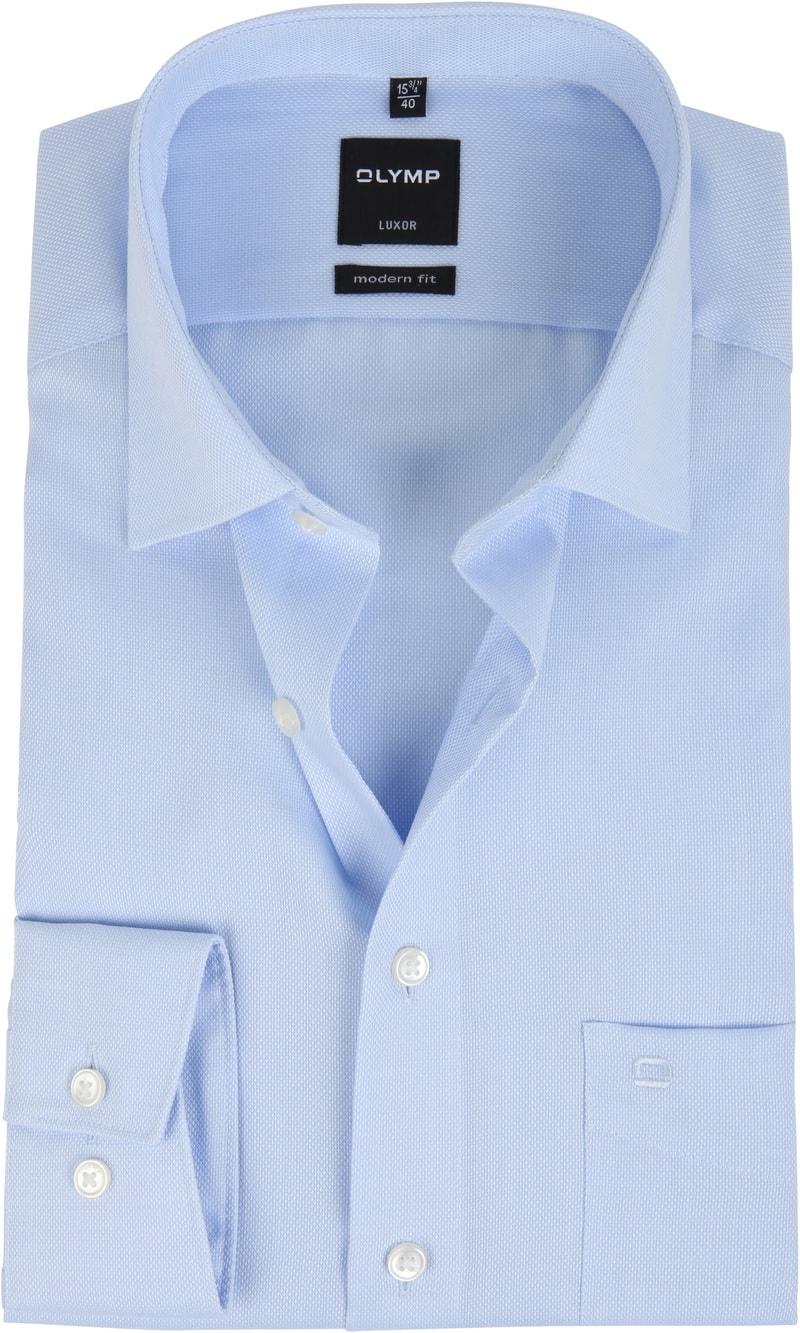 OLYMP Luxor Overhemd Blue Derby - Blauw maat 44