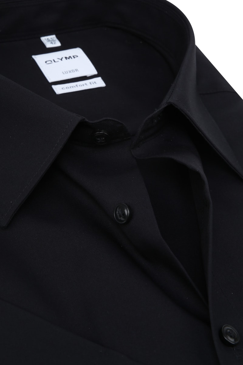 OLYMP Luxor Overhemd Comfort-Fit SS Zwart foto 1