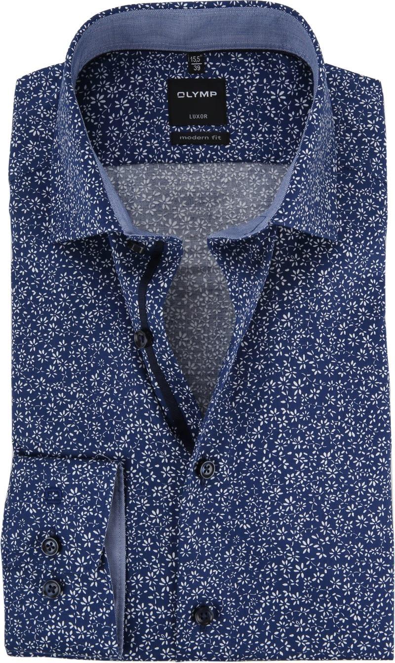 OLYMP Luxor Overhemd MF Bloem - Donkerblauw maat 38