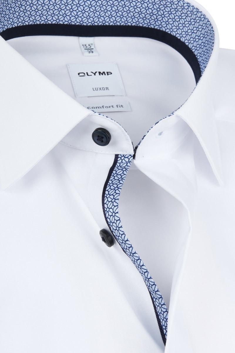 OLYMP Luxor Overhemd Wit Dessin Blauw foto 1