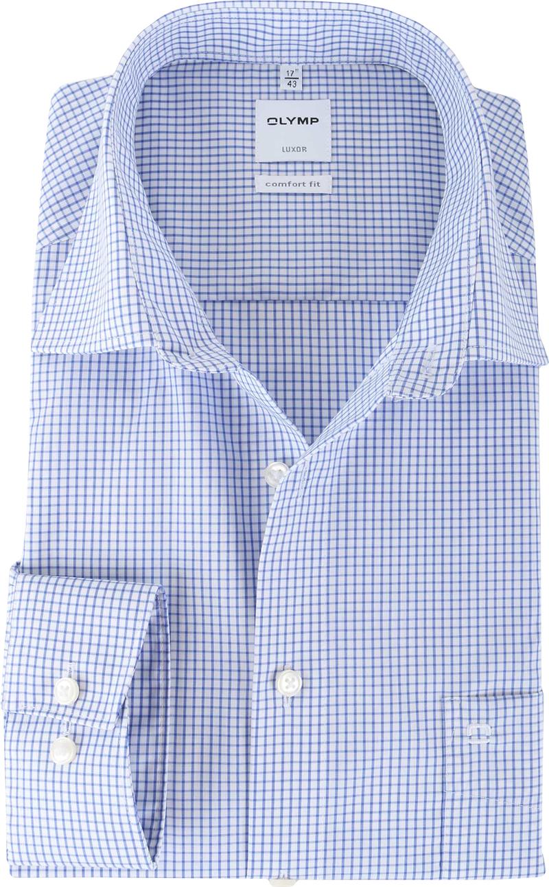 Olymp Luxor Shirt Ruit Comfort Fit  - Blauw maat 43