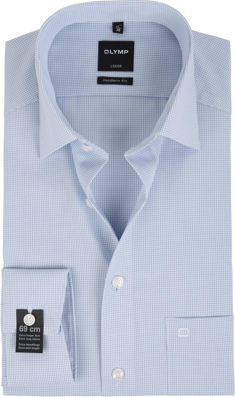 OLYMP Luxor Shirt SL7 Modern Fit Blauw Ruit