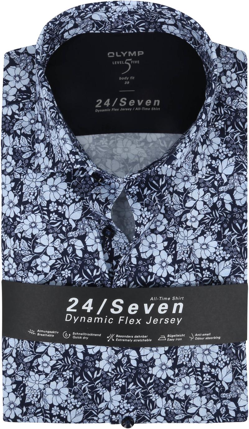 OLYMP Lvl 5 Hemd 24/Seven Bloemen Donkerblauw