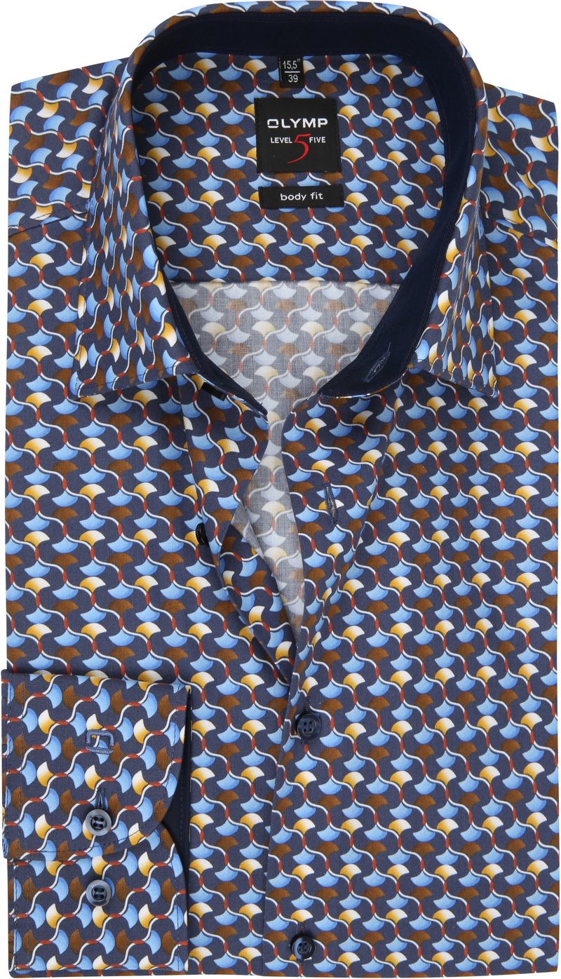 OLYMP Lvl 5 Overhemd Dessin Blauw foto 0