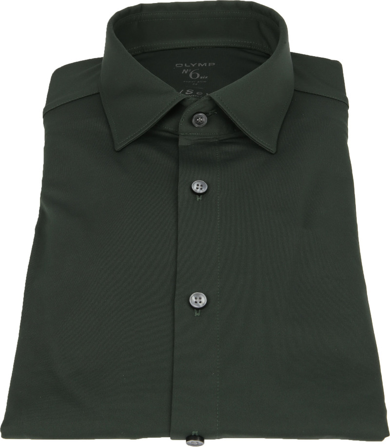 OLYMP No'6 Overhemd 24/Seven Olijfgroen