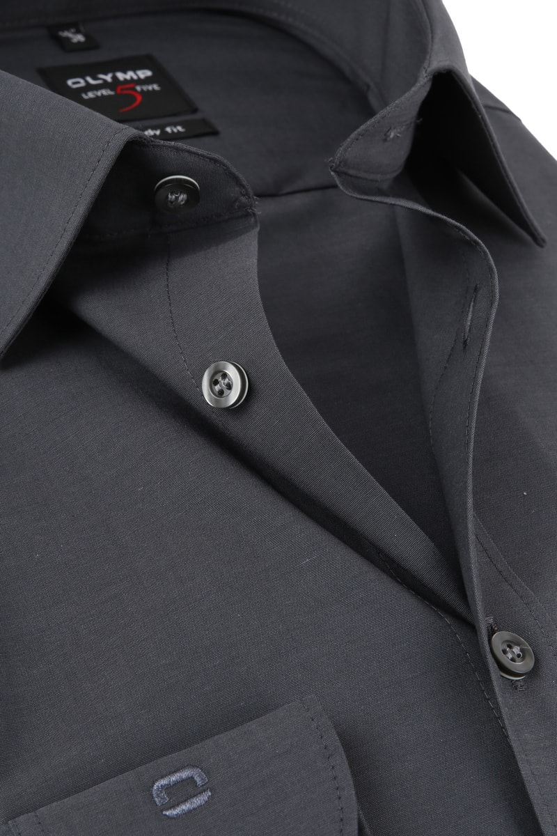OLYMP Overhemd Level 5 BF Antraciet  - Antraciet maat 37
