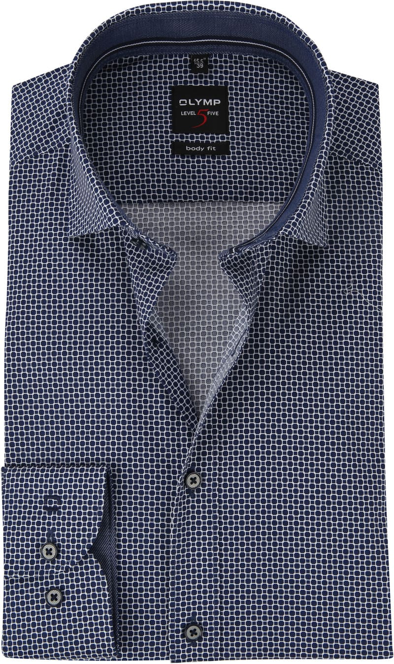 OLYMP Overhemd Level 5 Blauw Dessin WS foto 0