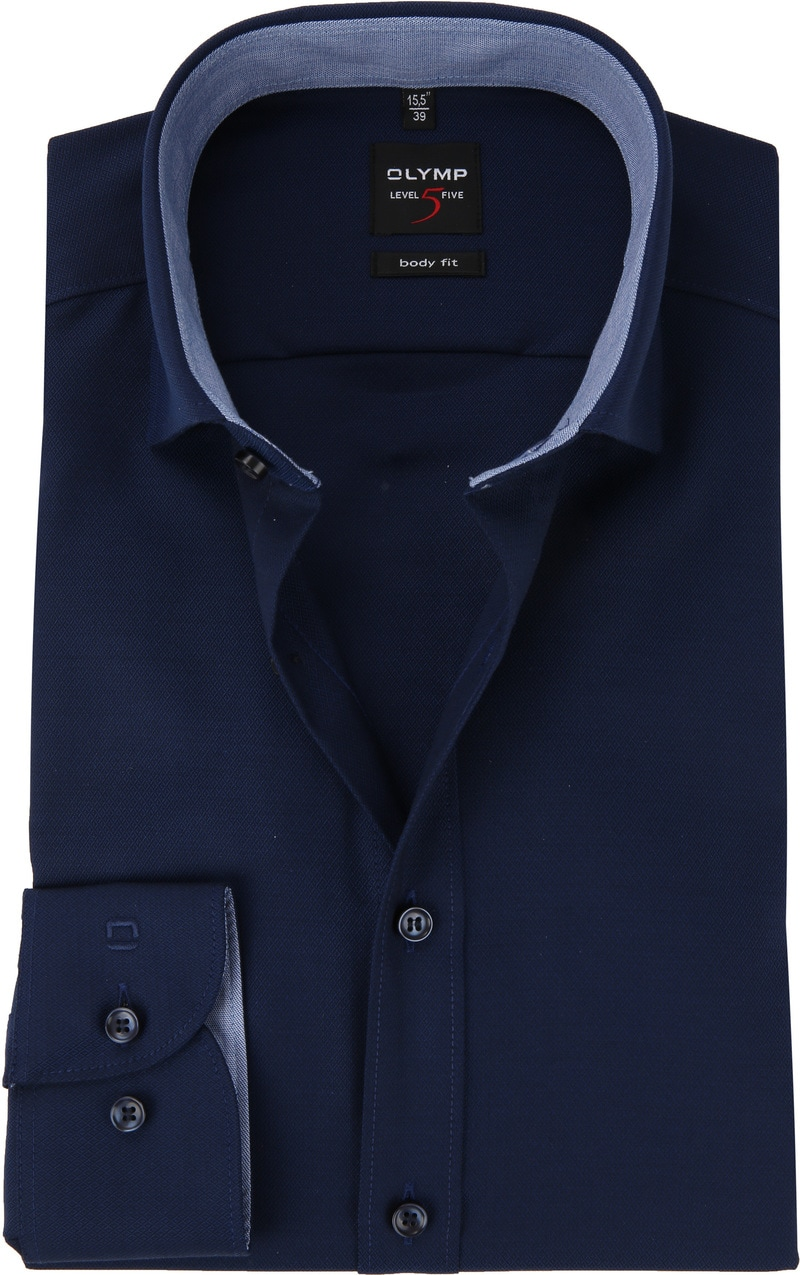 OLYMP Overhemd Level 5 Blauw Ruit foto 0