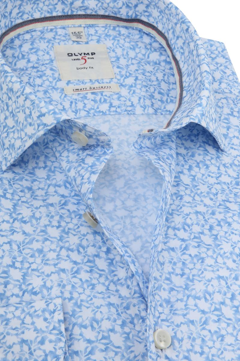 OLYMP Overhemd Level 5 Bloemen Blauw foto 1