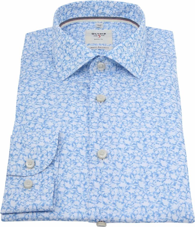 OLYMP Overhemd Level 5 Bloemen Blauw foto 2