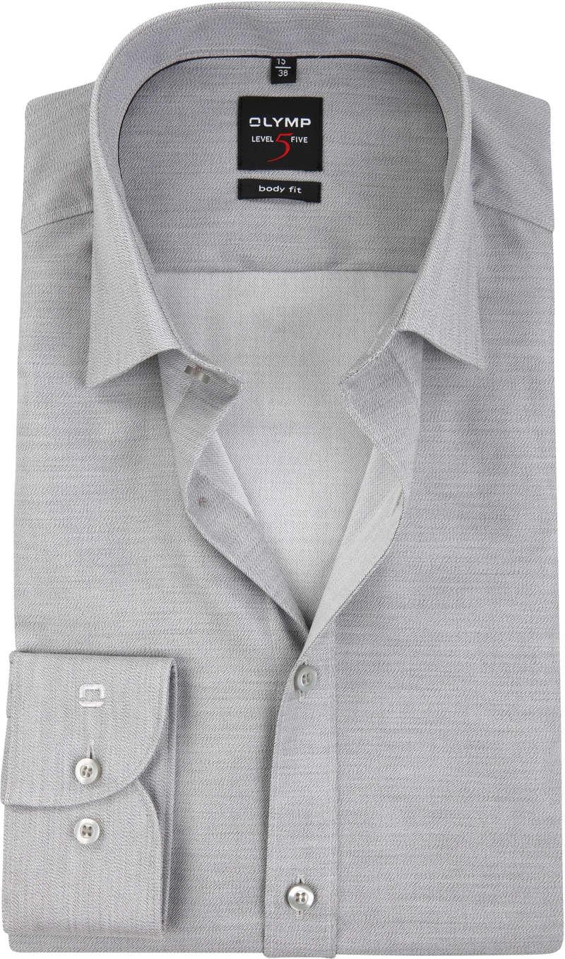 OLYMP Overhemd Level 5 Body-Fit Grijs - Grijs maat 43