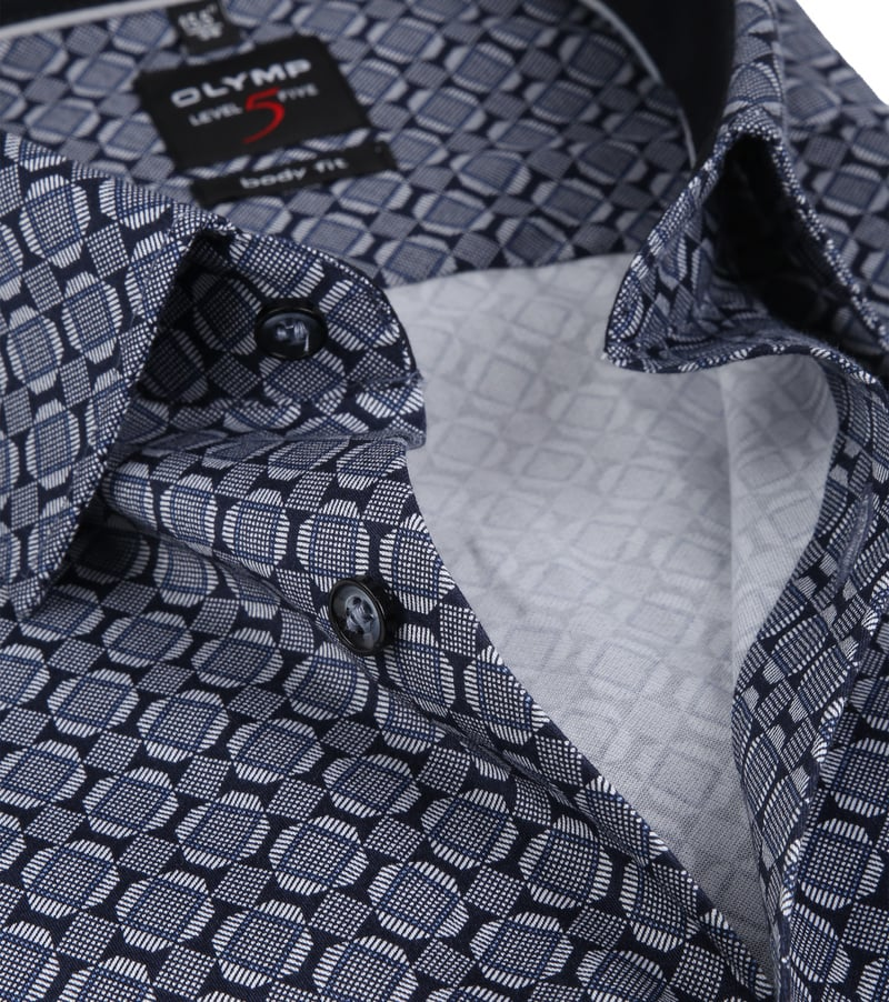 OLYMP Overhemd Level 5 Checks Navy - Donkerblauw maat 37
