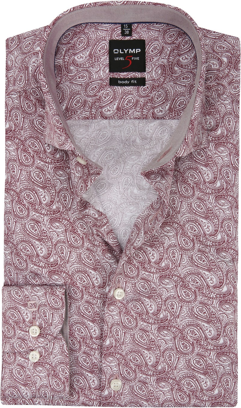 OLYMP Overhemd Level 5 Paisley Bordeaux - Bordeaux maat 37
