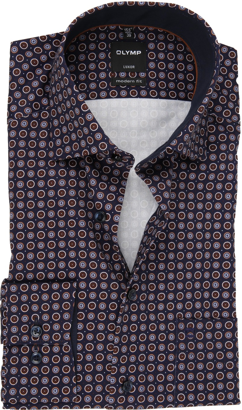 OLYMP Overhemd Luxor Dessin Donkerblauw foto 0