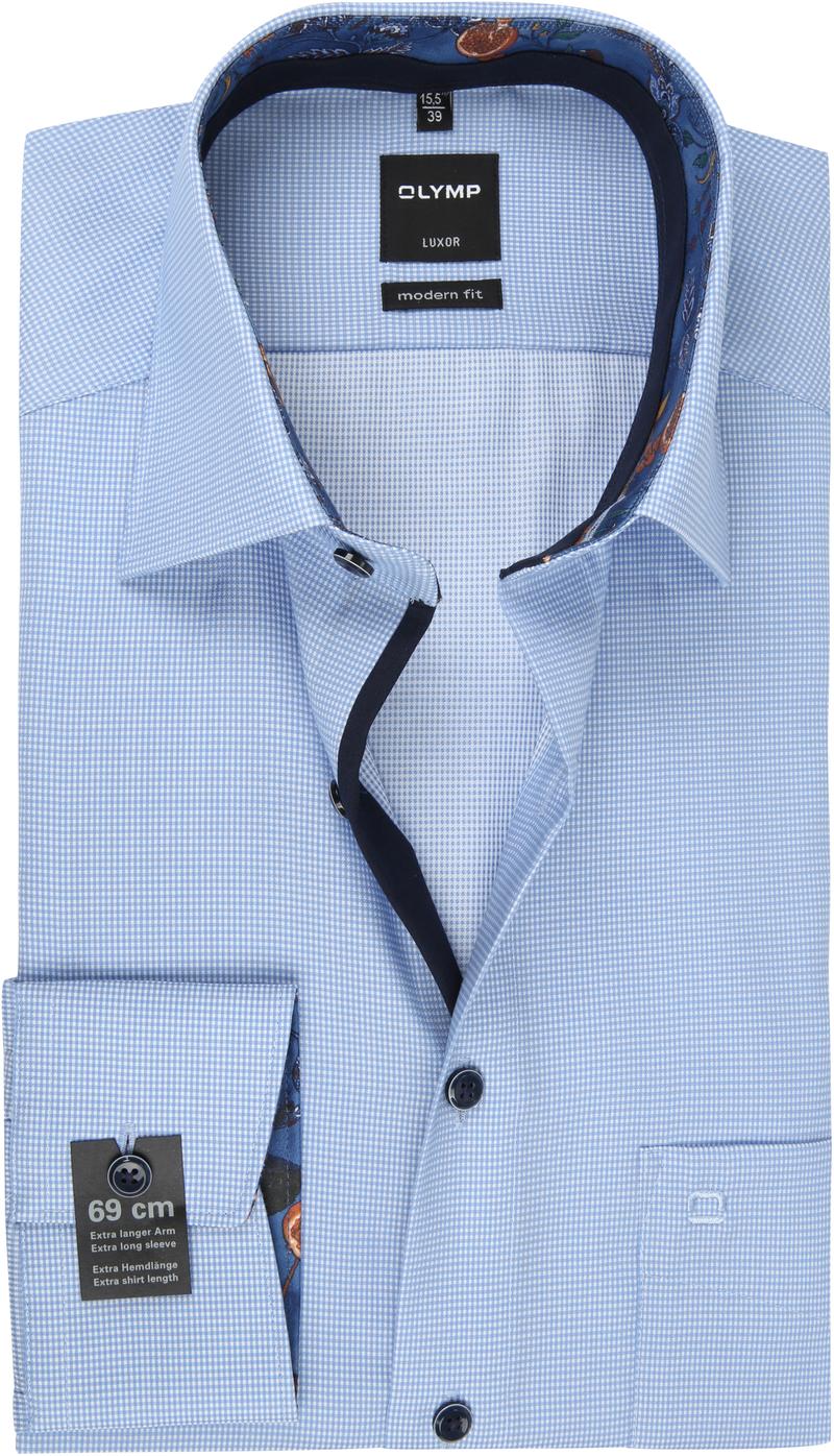 OLYMP Overhemd Luxor SL7 Blauw Ruit foto 0