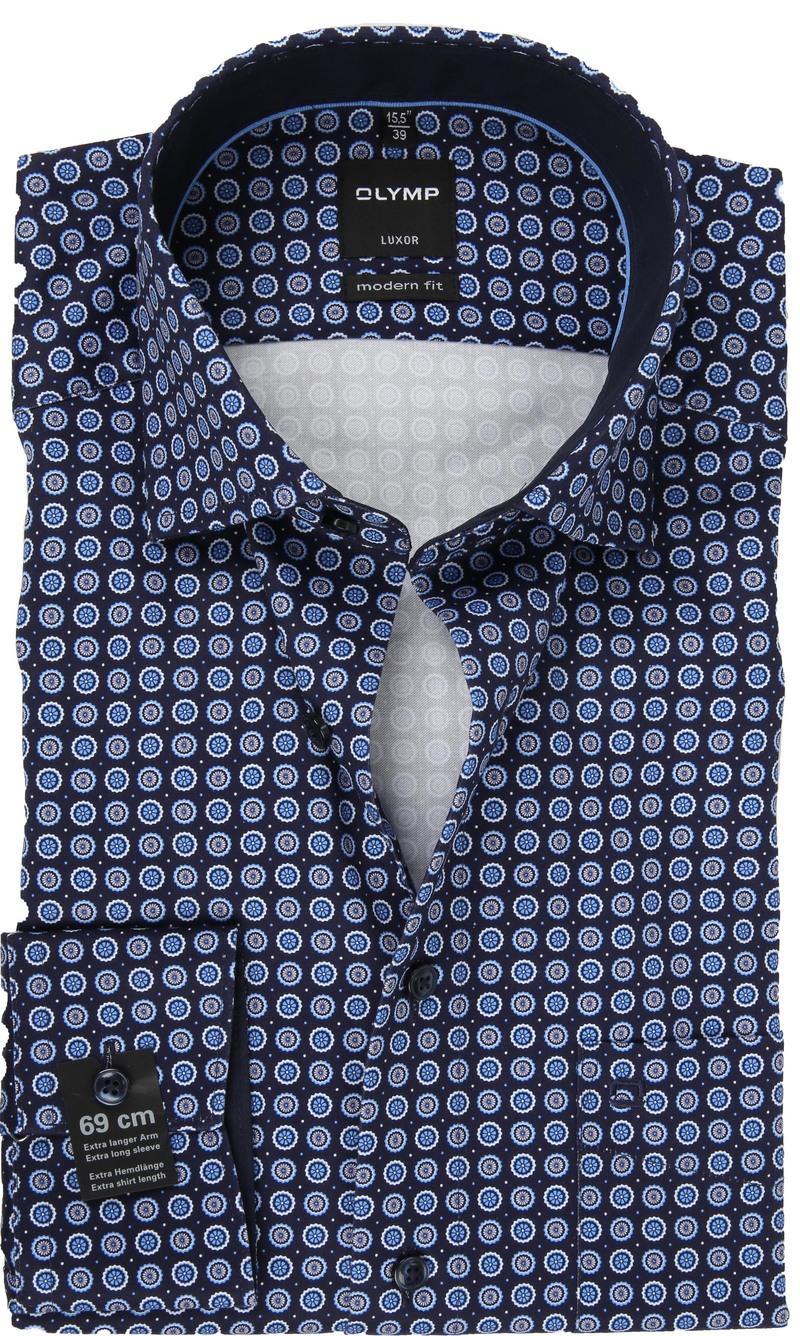 OLYMP Overhemd Luxor SL7 Print Blauw foto 0