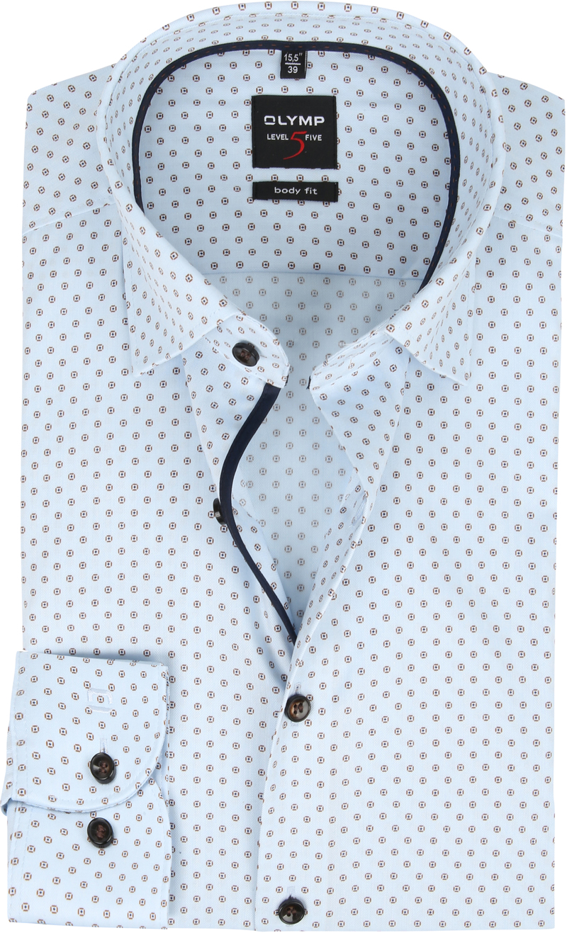 OLYMP Overhemd Lvl 5 Dessin Blauw foto 3
