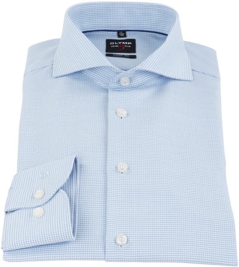 OLYMP Overhemd Strijkvrij Blauw Dessin Body Fit - Blauw maat 42