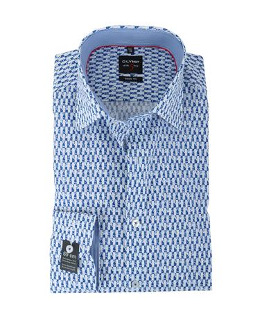 Olymp Shirt Body Fit Blauw Print SL7  online bestellen | Suitable