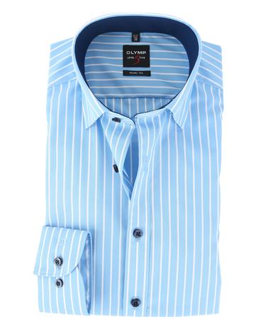 Olymp Shirt Level 5 Blauw Body Fit  online bestellen   Suitable