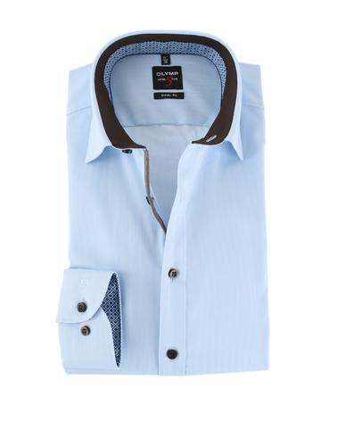 OLYMP Shirt Level 5 Blauw Body Fit Stretch  online bestellen | Suitable