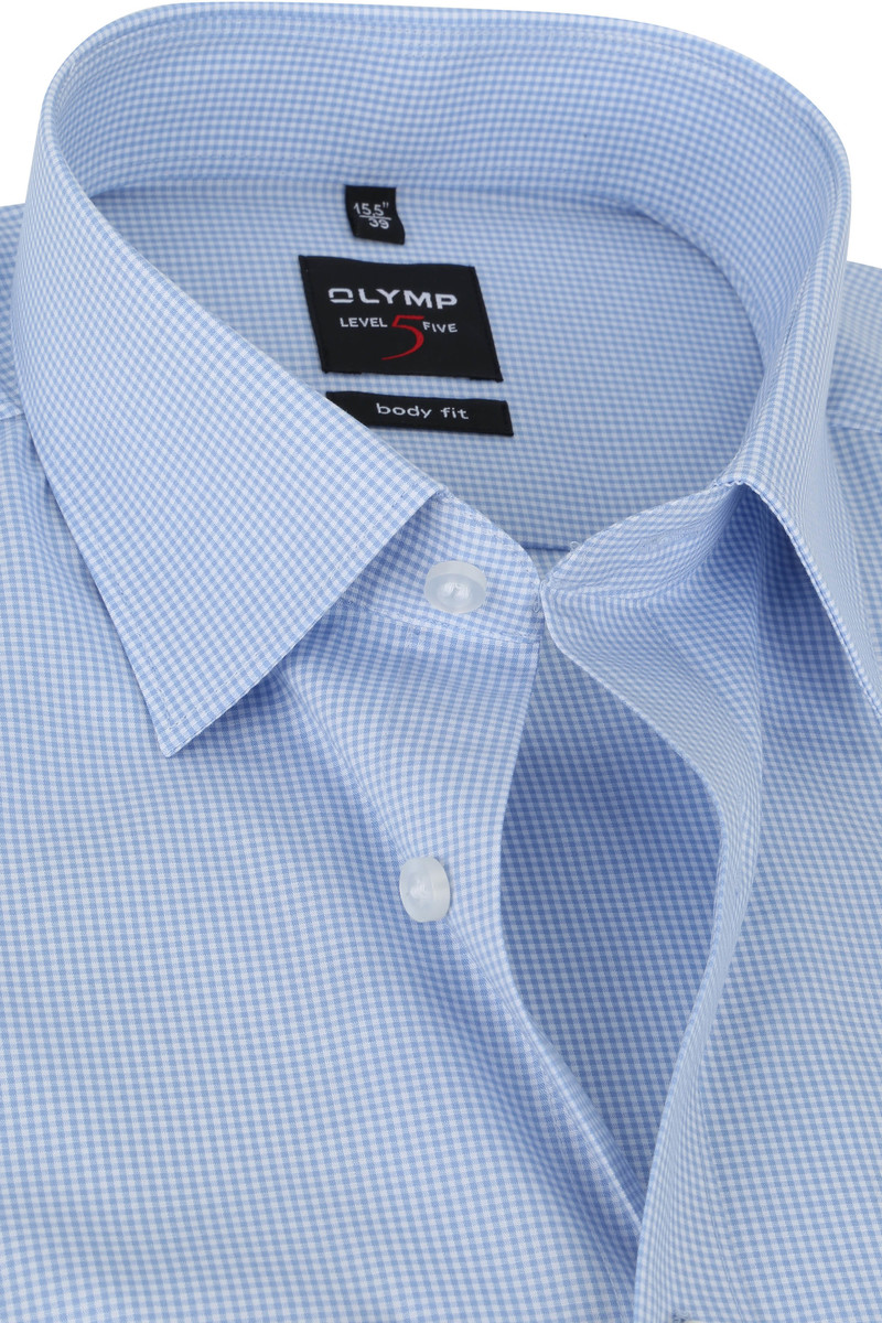 OLYMP Shirt Level 5 Checkered Blue
