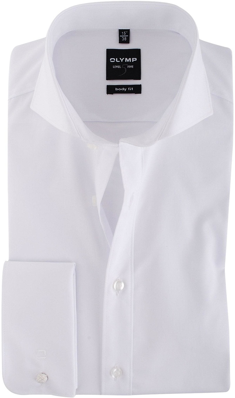 Olymp Shirt Wit Body-Fit Dubbelmanchet