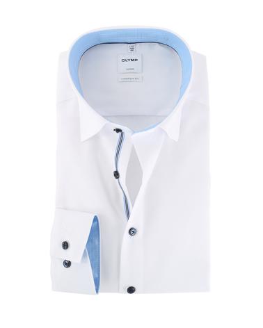 Olymp Strijkvrij Luxor Overhemd Wit/Blauw  online bestellen | Suitable