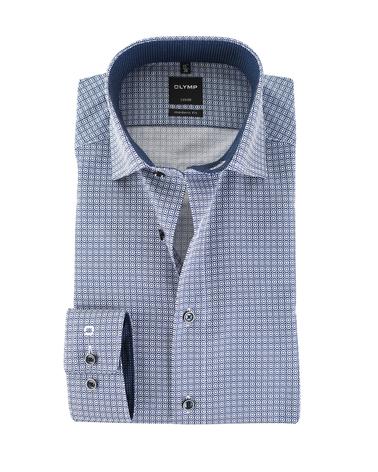 OLYMP Strijkvrij Overhemd Donkerblauw Print  online bestellen   Suitable