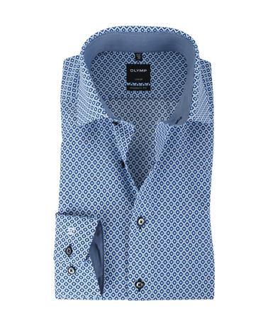 Olymp Strijkvrij Overhemd Modern Fit Blauwe Print  online bestellen | Suitable