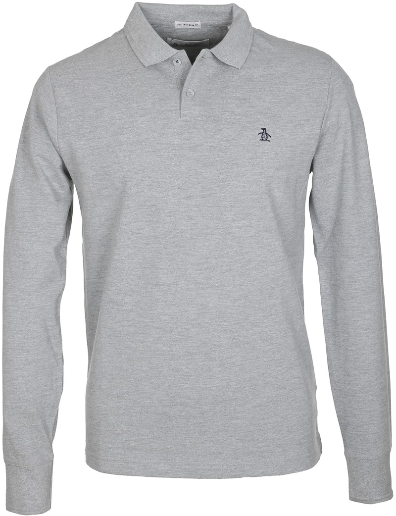 Original Penguin Lange Ärmel Poloshirt Grau  online kaufen   Suitable