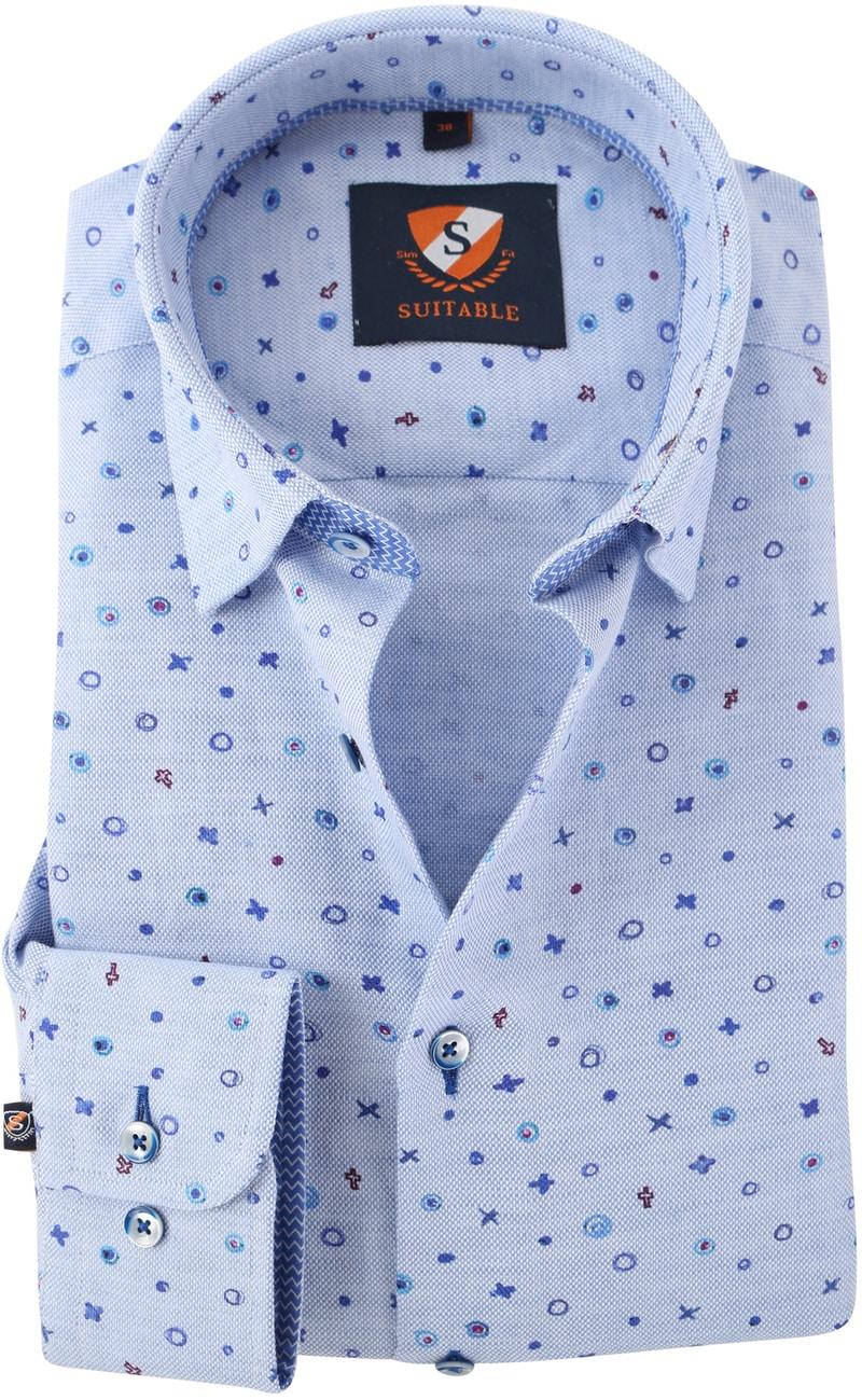 Overhemd Blauw Print 154-3  online bestellen | Suitable