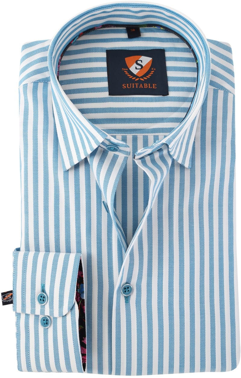 Overhemd Blauw Streep 154-4  online bestellen | Suitable