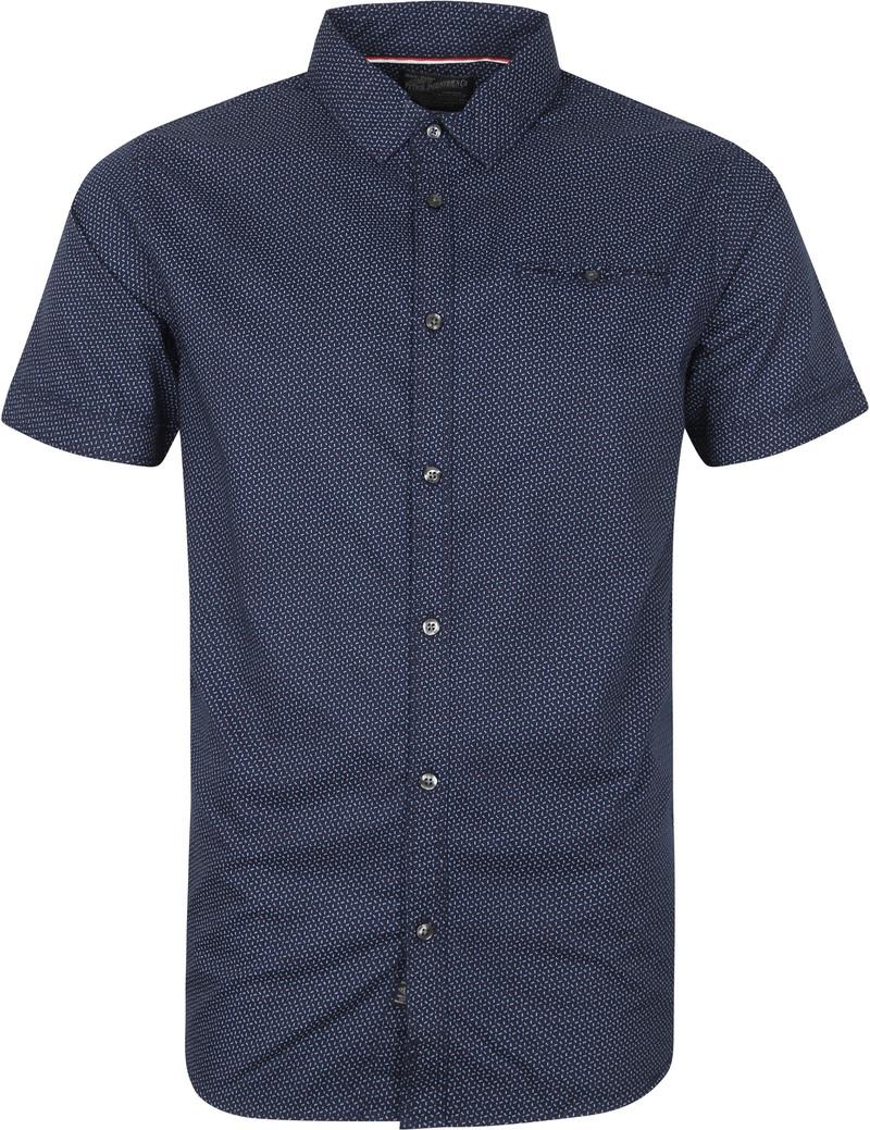 Petrol Overhemd Korte Mouw Donkerblauw