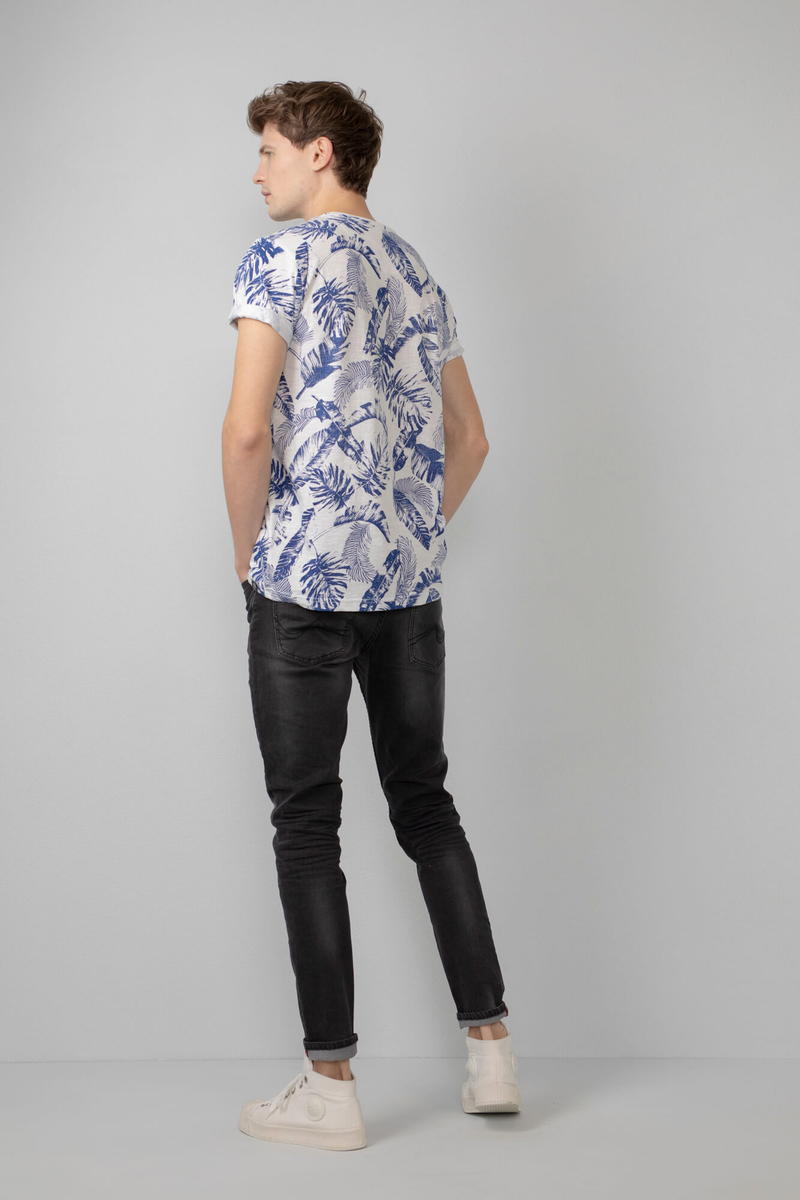 Petrol T-Shirt Bloemen Blauw