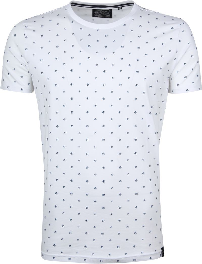 Petrol T-shirt Wit Stippen - Wit maat XXL