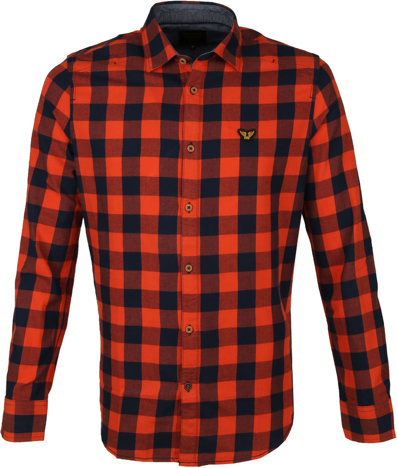 PME Legend Twill Check Overhemd Ruit Rood foto 0