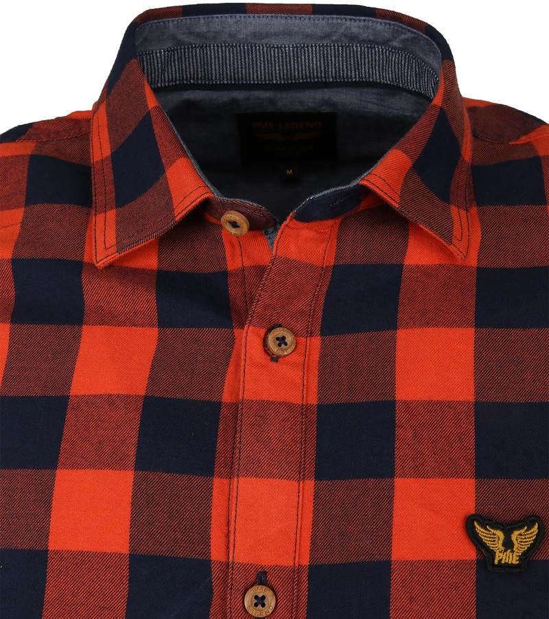PME Legend Twill Check Overhemd Ruit Rood foto 1
