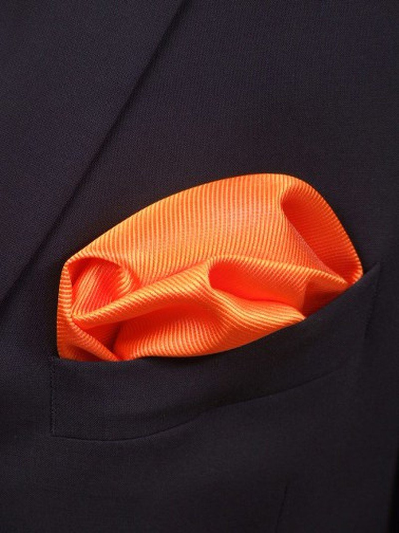 Pocket Square Silk Orange F01 photo 1