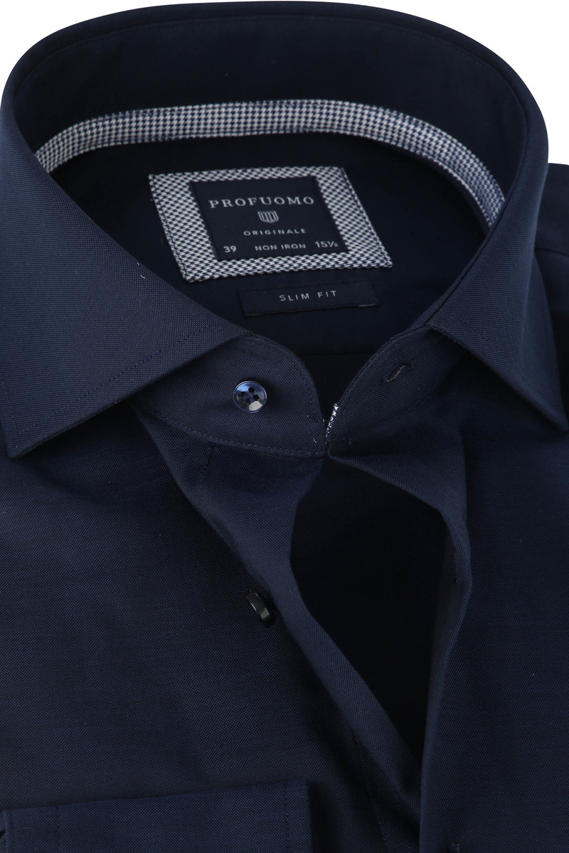 Profuomo Hemd SF Pinpoint Donkerblauw