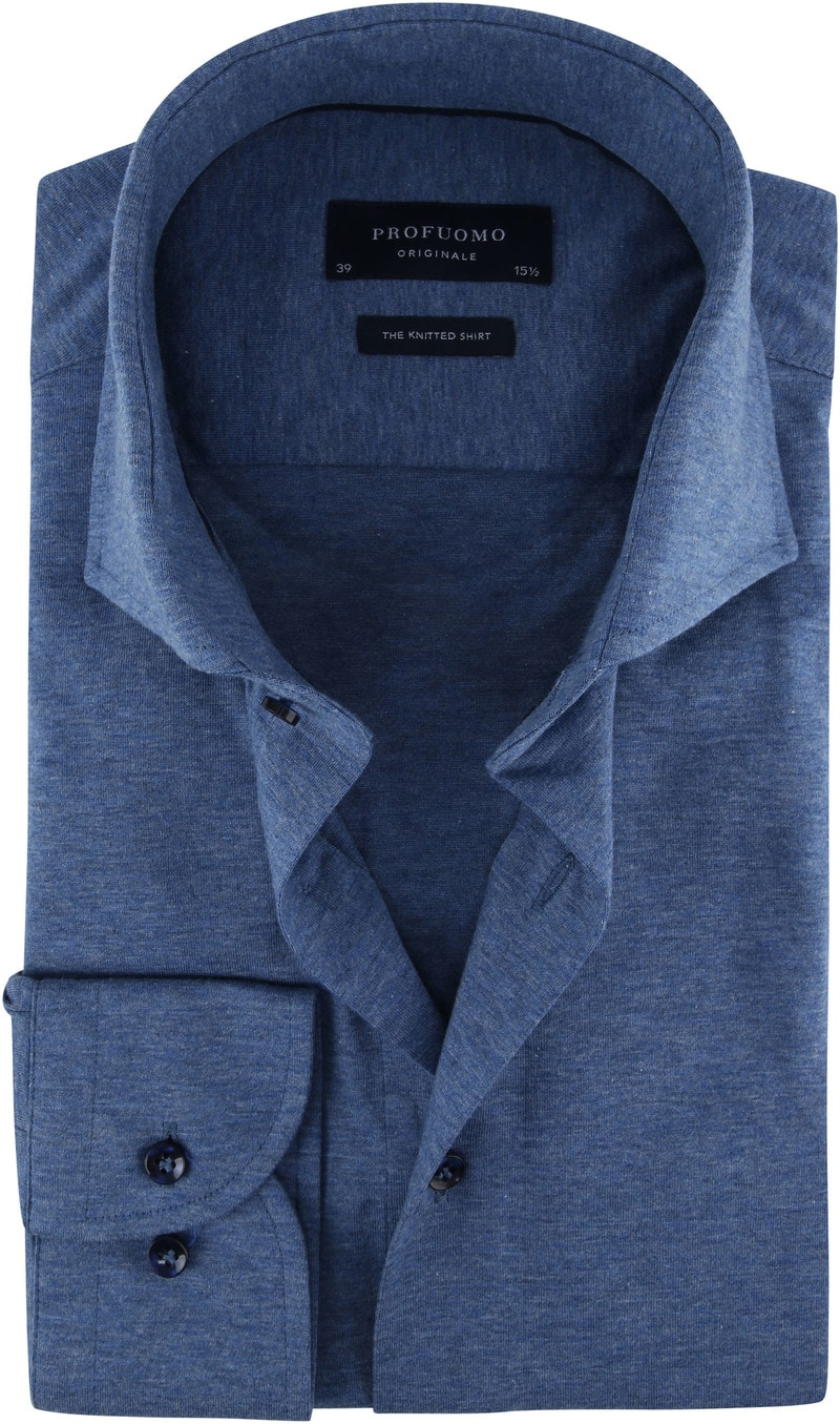 Profuomo Knitted Jersey Overhemd Blauw