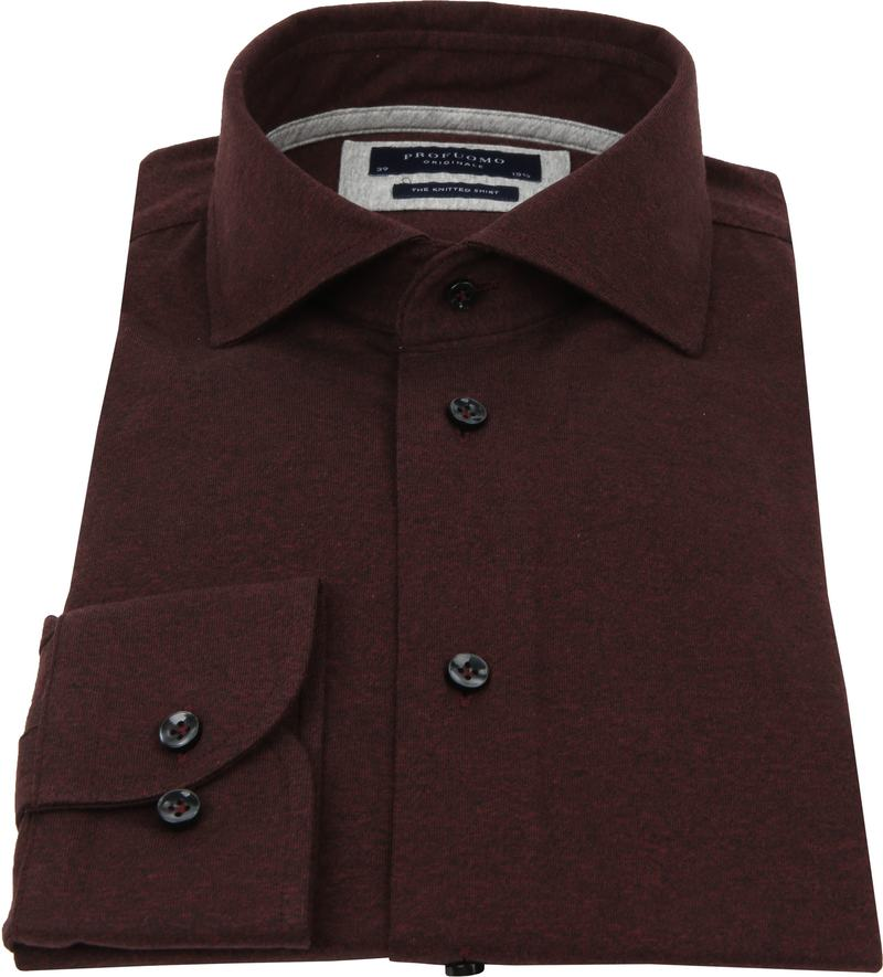 Profuomo Knitted Jersey Overhemd Bordeaux - Bordeaux maat 43