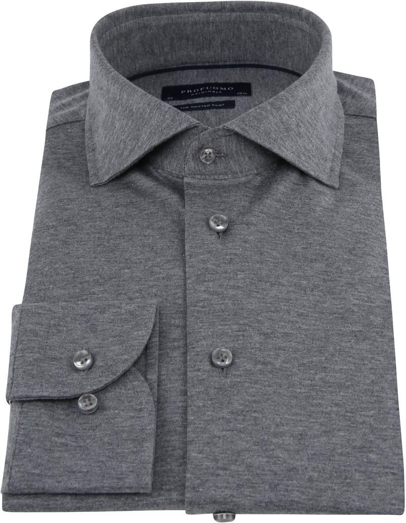 Profuomo Knitted Jersey Overhemd Grijs