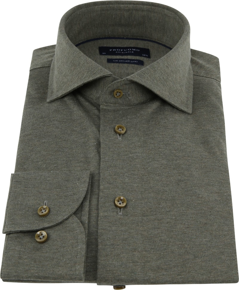 Profuomo Knitted Jersey Overhemd Groen