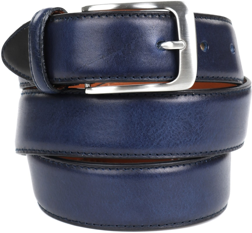 Profuomo Leather Navy Belt  photo 0